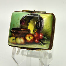 Authentic Limoges French Porcelain Box STILL LIFE WITH COPPER POT AND FRUITS  26