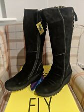 Fly london Yust Black Oil Suede Womens Knee Hi Wedge Shoes Boots - UK 6