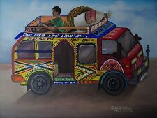 Man on Colorful Haitian Bus Canvas Folk Art Creole Village SIGNED Painting Haiti