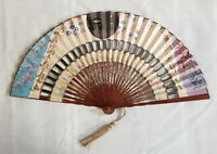 Vintage Oriental Hand Fan Gold with Multi-Colored Oriental Design