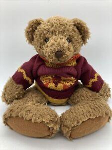 "Russ Canterbury Plush Curly Hair Bear 12"" Stuffed Animal Turkey Sweater"