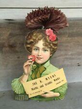 1907 Die Cut Cardboard Sign Calendar MYERS MARBLE GRANITE WORKS KOKOMO INDIANA