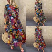 UK Women Floral Round Neck Long Dress Ladies Casual Loose Maxi Dress Plus Size