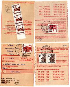2.7.1990, 4 Einzahlungsaufträge, je EF/MeF Freimarken Bauwerke am Erstausgabetag