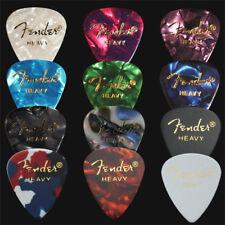 12 x Heavy Fender Celluloid Guitar Picks / Plectrums - 1 Of Each Colour