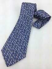 True Vintage Mens Necktie Kipper Wide Neck Tie Blue Abstract Stripe Jacquard