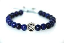 Silber Löwen Charm Power Armband verstellbar mit Lapis Lazuli Beads Bracelet
