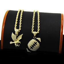 "Mens Gold Eagles Football Bundle Hip Hop Pendant Set 24"" Rope Chain F31"