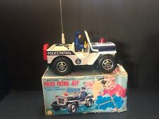 T.N. Nomura 50's Police Patrol Jeep Tin Toy Battery Operated Willys With box