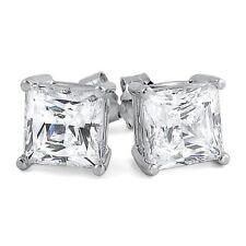 7mm Princess Cut 5A Flawless High End Cz Womens Stud Earrings