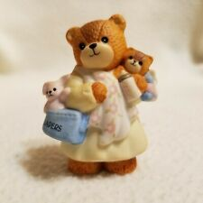 Enesco 1987 Lucy Rigg Lucy and Me Mother Teddy Bear with Baby and Diaper Bag