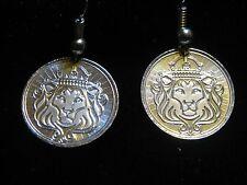 999 SILVER BULLION 1/10th SCOTSDALE LION  EARRINGS 925 HOOKS (NO SCRAP) U.S.MADE