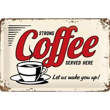 FORTE CAFFÈ SERVITA QUI - CAFFÈ TARGA DI LATTA BAR 20X30 CM 3D RILIEVO 22249