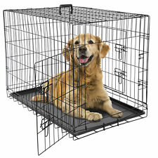 """24"""" 36"""" 42"""" Dog Crate Kennel Folding Metal Pet Cage 2 Door With Tray Pan Black"""