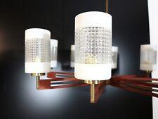 Teak Lampe Deckenlampe Kronleuchter Danish Glas Mid Century 50s 60s Jalk Ära