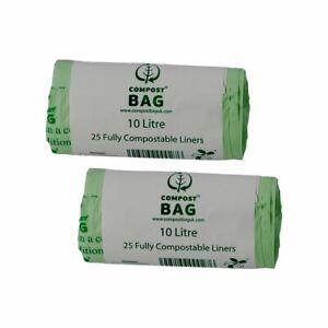10 Litre x 50 CompostBag Compostable Food Waste Caddy Liner Bin Bags (10L)