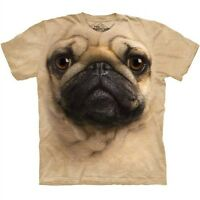 Pug Face Dog Tee T Shirt Pet Animal Tan Adult by The Mountain