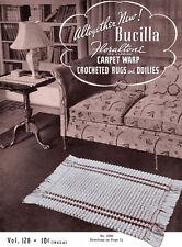 Bucilla #128 c.1939 Carpet Warp Crochet Rugs & Doilies Vintage Patterns for Home