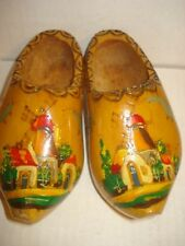 Vintage Chinese Miniature Holland Wooden Clogs/ Shoes Hand Carved