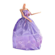 Princess Gown Clothes for Barbies*Purple Wedding Dress for Doll Accessories MW
