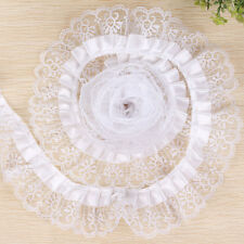 5m 5cm Width Pleated Organza Lace Edge Trim Gathered Mesh Ribbon Wedding Sewing