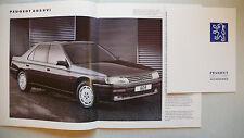 Prospekt Peugeot 605, 10.1990, 36 Seiten + 4 S. Accessoires, 32x27 cm, für UK