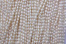3-4 mm Oval echt Zuchtperlen Strang Süßwasser Perlen Schmuck Kette Halskette