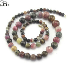 """Natural Graduated Tourmaline Beads 4-10mm Sterling Silver Clasp Necklace 18"""""""