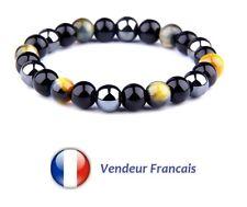 Bracelet Homme Femme Perles Pierres Naturelles Oeil du Tigre Couleur Jaune