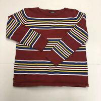 Lauren Ralph Lauren Women Pullover Stripe Sweater Size M Long Sleeve Red