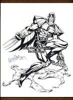 VHTF Darkhawk Sketch Print Wittman (Bart Sears) Signed Wizard Mag Unused Cover