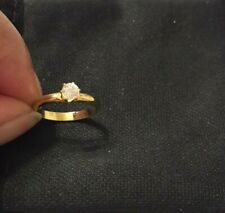 Solitaire Engagement Ring Size 5 Gold Women's Yellow Gold Plated Cubic Zirconia