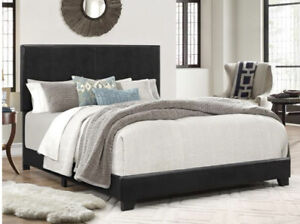 Queen Size Bed Frame Platform With Headboard Erin Black Faux leather Upholstered