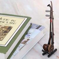 Mini Wooden Musical Instruments Erhu Model with Case & Stand 15cm Model Display
