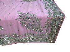 Om Vintage Indian Sari Pure Georgette Hand Beaded Rhinstone Pink SareeZA10558