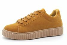 Kelsi Womens UK 5 Camel Brown Faux Suede Lace Up Creeper Sneaker Trainers Shoes