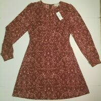 LOFT Long Sleeve Midi Dress Cranberry Maroon Paisley 0 2 4 6 8 10 12 16 NWT $79