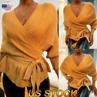 Women V-Neck Tunic Sweater Casual Knit Tops Long Sleeve Belted Blouse Sweatshirt
