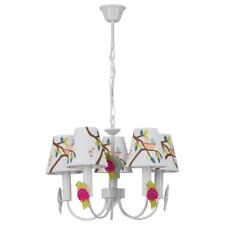 Chandelier white metal colour fabric shades with pattern for kids room E14 5*40W