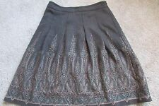 Ann Taylor LOFT Brown Embroidered Paisley Tweed Wool Pleated Lined Skirt Sz 10