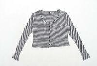 H&M Womens Size M Striped Black Ribbed Top (Regular)