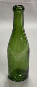 Slack & Cox Manchester Victorian Blob Top Green Mineral Water Bottle c1890's