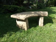 STONE GARDEN LARGE RUSTIC OLD STYLE CURVED BENCH / SEAT ORNAMENT COLLECTION ONLY