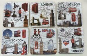 London UK icon souvenir tea coffee table 6 coasters Big Ben Red Bus London Eye