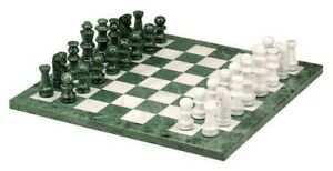 """CHH 16"""" Green & White Marble Chess Board Classic Strategy Game Set 2178S NEW"""