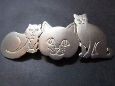PEWTER THREE CAT PIN BROOCH SOLID METAL SIGNED PAQUETTE DESIGNER VINTAGE