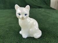 Fenton Opalescent White Milk Slag Glass Cat Sitting