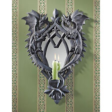 "17.5"" Dueling Dragons Gothic Themed Candle Holder Medieval Wall Mirror"
