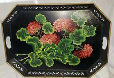 Vtg Metal Tray Pilgrim Art No.150 Red Geranium Flowers on Black, Gold Trim 22x16