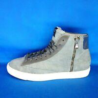 Quattrobarradodici Herren Schuhe High Sneaker Sportschuhe Leder Grau Np 189 Neu